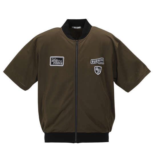 大きいサイズ メンズ RIMASTER メッシュ ワッペン付 半袖 ブルゾン + 半袖 Tシャツ カーキ × ブラック 1158-9242-1 3L 4L 5L 6L 8L