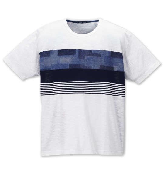大きいサイズ メンズ Free gate スラブ 天竺 デニム プリント 切替 半袖 Tシャツ オフホワイト 1158-9560-1 3L 4L 5L 6L 8L