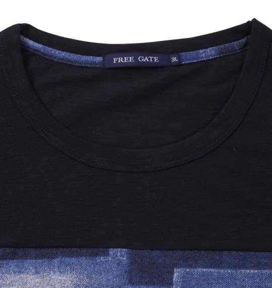 大きいサイズ メンズ Free gate スラブ 天竺 デニム プリント 切替 半袖 Tシャツ ネイビー 1158-9560-2 3L 4L 5L 6L 8L