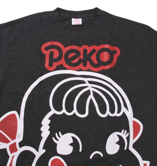 大きいサイズ メンズ PeKo&PoKo ビッグフェイス プリント 半袖 Tシャツ チャコール杢 1178-9506-2 3L 4L 5L 6L 8L