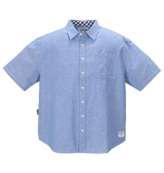 大きいサイズ メンズ OUTDOOR PRODUCTS 異素材使い 綿麻 半袖 シャツ ブルー 1157-9200-3 3L 4L 5L 6L 8L