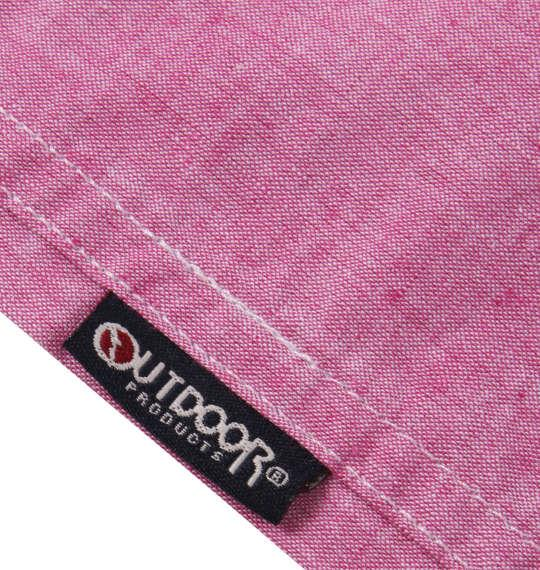 大きいサイズ メンズ OUTDOOR PRODUCTS 異素材使い 綿麻 半袖 シャツ ピンク 1157-9200-4 3L 4L 5L 6L 8L