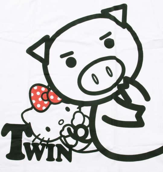 大きいサイズ メンズ 豊天 美豚 × ハローキティ 半袖 Tシャツ オフホワイト 1168-9240-1 3L 4L 5L 6L