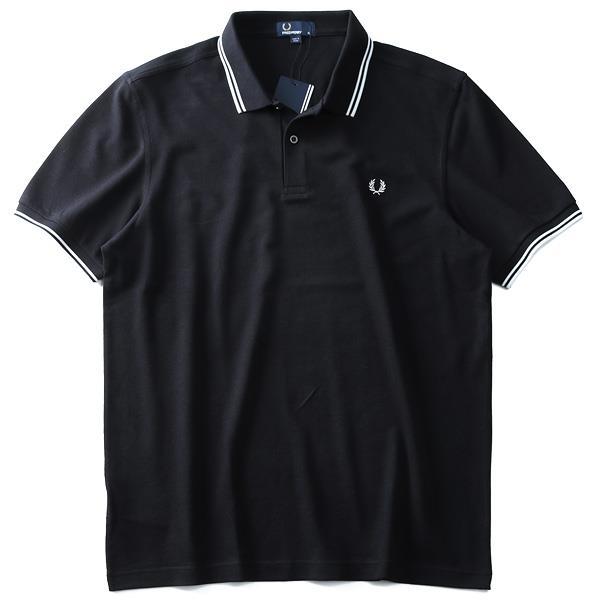 大きいサイズ メンズ FRED PERRY フレッドペリー ライン入 鹿の子 半袖 ポロシャツ USA直輸入 m3600