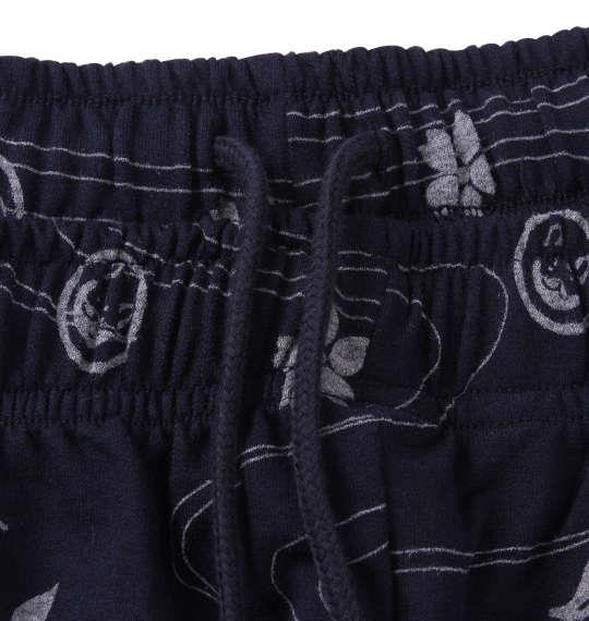 大きいサイズ メンズ 黒柴印和んこ堂 天竺 半袖 Tシャツ + 総柄 ミニ裏毛 ハーフパンツ モクグレー × ネイビー 1158-9222-1 3L 4L 5L 6L 8L