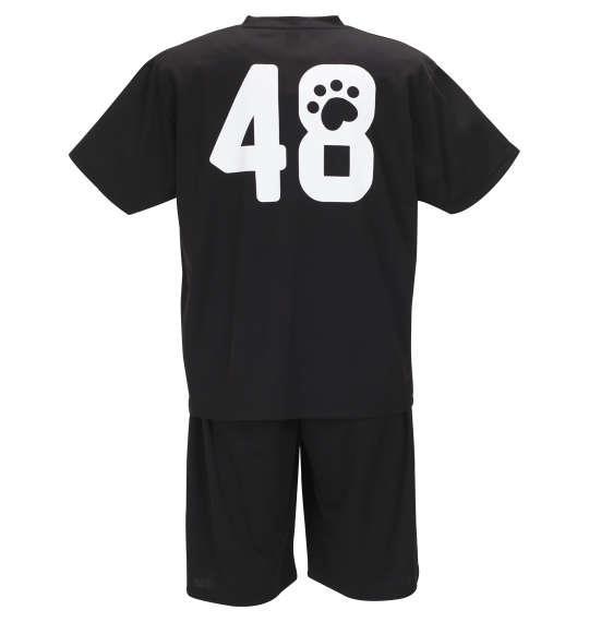 大きいサイズ メンズ 黒柴印和んこ堂 吸汗速乾 ハニカム メッシュ 半袖 Tシャツ + ハーフパンツ ブラック × ブラック 1158-9223-2 3L 4L 5L 6L 8L