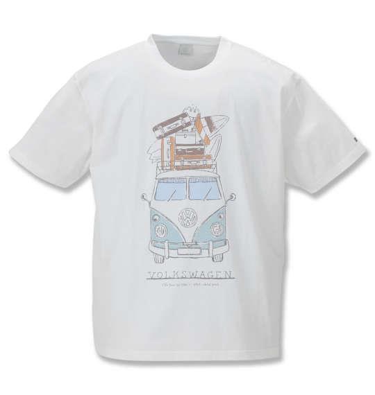 大きいサイズ メンズ VOLKSWAGEN 半袖 Tシャツ ホワイト 1168-9236-1 3L 4L 5L 6L 8L