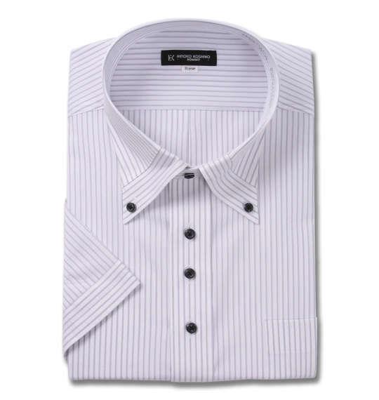 大きいサイズ メンズ HIROKO KOSHINO HOMME マイターB.D 半袖 シャツ ホワイト × グレー 1177-9231-1 3L 4L 5L 6L 7L 8L