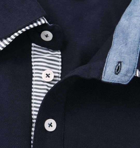 大きいサイズ メンズ Timely Warning 鹿の子 2枚衿 半袖 ポロシャツ ネイビー 1158-9521-3 3L 4L 5L 6L