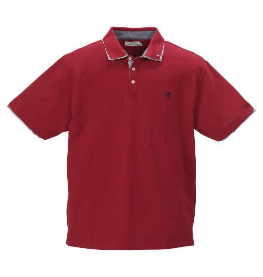 大きいサイズ メンズ Timely Warning 鹿の子 2枚衿 半袖 ポロシャツ レッド 1158-9521-4 3L 4L 5L 6L