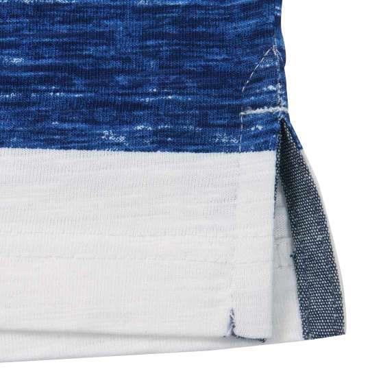大きいサイズ メンズ Timely Warning ナノテック加工 スラブ 杢 ボーダー 半袖 Tシャツ ネイビー 1158-9522-2 3L 4L 5L 6L