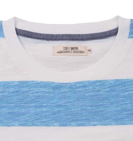 大きいサイズ メンズ Timely Warning ナノテック加工 スラブ 杢 ボーダー 半袖 Tシャツ サックス 1158-9522-3 3L 4L 5L 6L