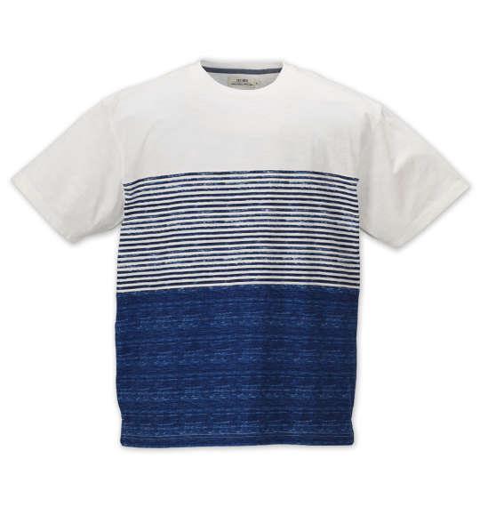 大きいサイズ メンズ Timely Warning ナノテック加工 スラブ 3段切替 半袖 Tシャツ オフホワイト 1158-9523-1 3L 4L 5L 6L