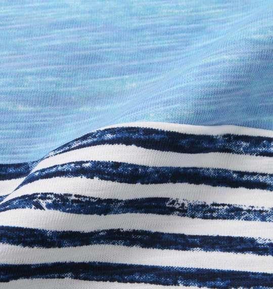 大きいサイズ メンズ Timely Warning ナノテック加工 スラブ 3段切替 半袖 Tシャツ サックス 1158-9523-3 3L 4L 5L 6L
