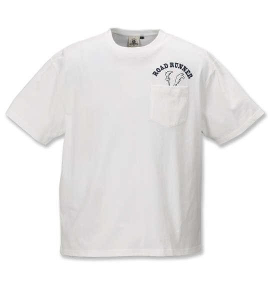 大きいサイズ メンズ LOONEY TUNES チェーン刺繍 & プリント 半袖 Tシャツ オフホワイト 1178-9245-1 3L 4L 5L 6L 8L
