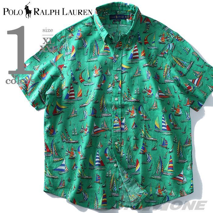 大きいサイズ メンズ POLO RALPH LAUREN ポロ ラルフローレン 麻100% 総柄 半袖 ボタンダウン シャツ USA直輸入 710751209001