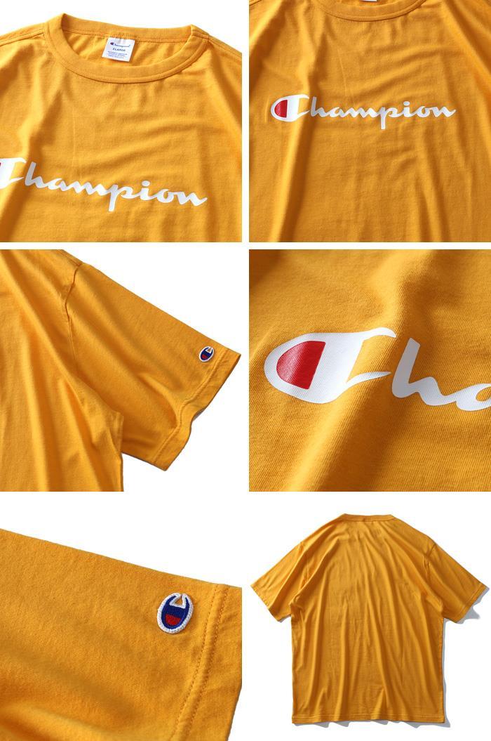 大きいサイズ メンズ Champion チャンピオン ウォッシュ加工 ロゴ プリント 半袖 Tシャツ c3-p302l