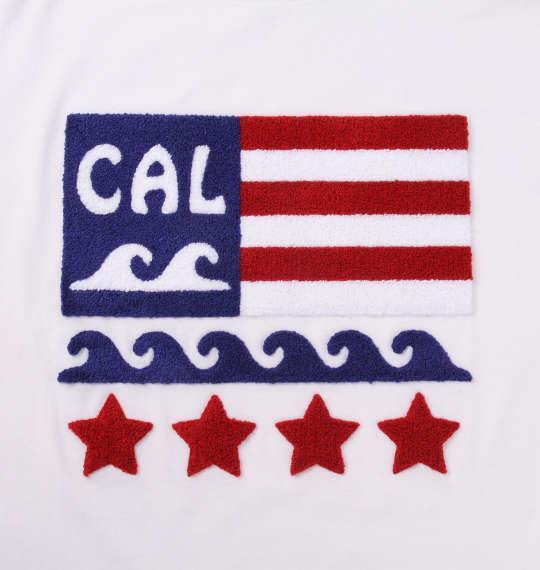 大きいサイズ メンズ SHELTY 星条旗 サガラ刺繍 半袖 Tシャツ オフホワイト 1168-9274-1 3L 4L 5L 6L 8L