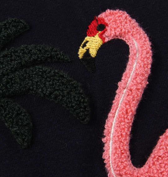 大きいサイズ メンズ SHELTY フラミンゴ サガラ刺繍 半袖 Tシャツ ネイビー 1168-9275-2 3L 4L 5L 6L 8L