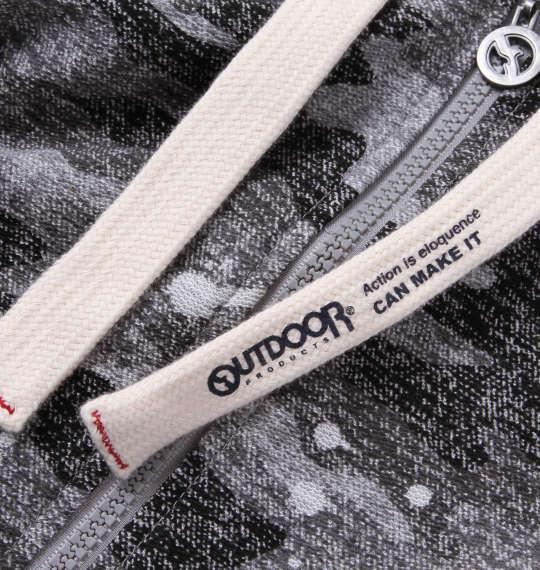 大きいサイズ メンズ OUTDOOR PRODUCTS インレイ 裏毛 カモフラ柄 半袖 フルジップ パーカー ブラック 1158-9214-2 3L 4L 5L 6L 8L