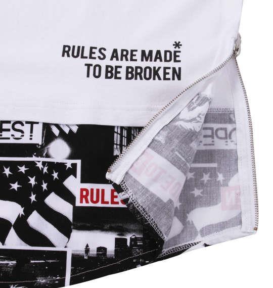大きいサイズ メンズ SHOCK NINE ロング丈 裾フォト柄 切替 半袖 Tシャツ ホワイト 1158-9255-1 3L 4L 5L 6L