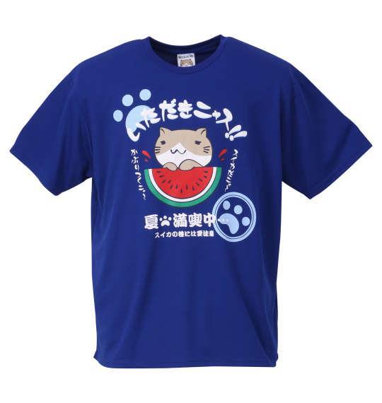 大きいサイズ メンズ NECOBUCHI-SAN DRY メッシュ 半袖 Tシャツ マリンブルー 1158-9263-1 3L 4L 5L 6L