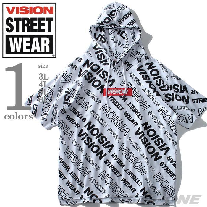 大きいサイズ メンズ VISION STREET WEAR 総柄 プリント 半袖 プルオーバー パーカー 春夏新作 9504100