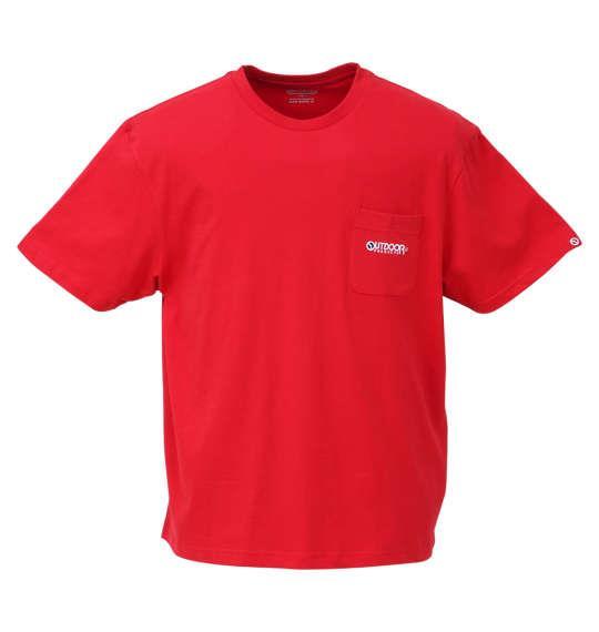 大きいサイズ メンズ OUTDOOR PRODUCTS 天竺 ポケット付 半袖 Tシャツ レッド 1158-9210-3 3L 4L 5L 6L 8L
