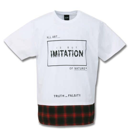 大きいサイズ メンズ SHOCK NINE ロング丈 裾チェック柄 切替 半袖 Tシャツ ホワイト 1158-9256-1 3L 4L 5L 6L