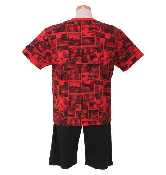 大きいサイズ メンズ SHOCK NINE 総柄 半袖 Tシャツ + ミニ 裏毛 ハーフパンツ レッド × ブラック 1158-9257-2 3L 4L 5L 6L
