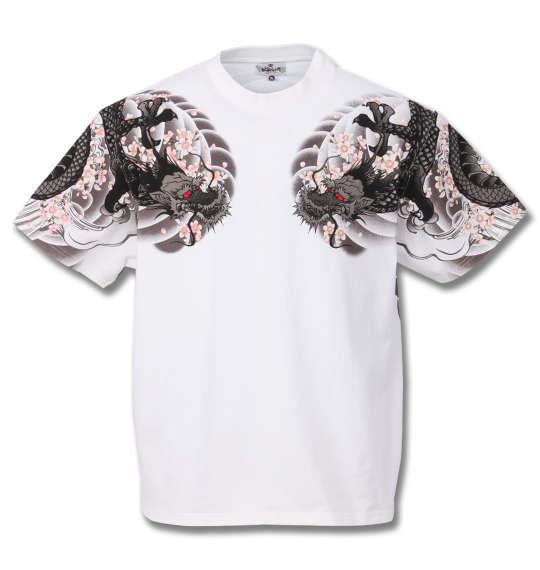 大きいサイズ メンズ 絡繰魂 龍和彫り 半袖 Tシャツ ホワイト 1158-9535-1 3L 4L 5L 6L 8L