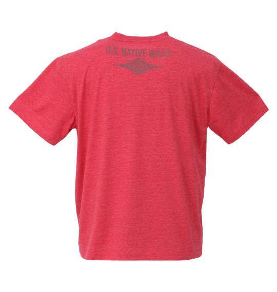 大きいサイズ メンズ PREPS 半袖 Tシャツ レッド杢 1158-9582-1 3L 4L 5L 6L 8L
