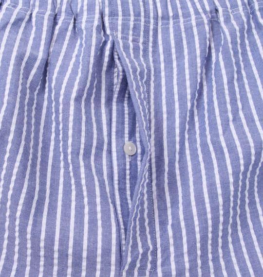 大きいサイズ メンズ marie claire homme DRY サッカー ストライプ 長袖 パジャマ ブルー系 1159-9253-2 3L 4L 5L 6L 8L