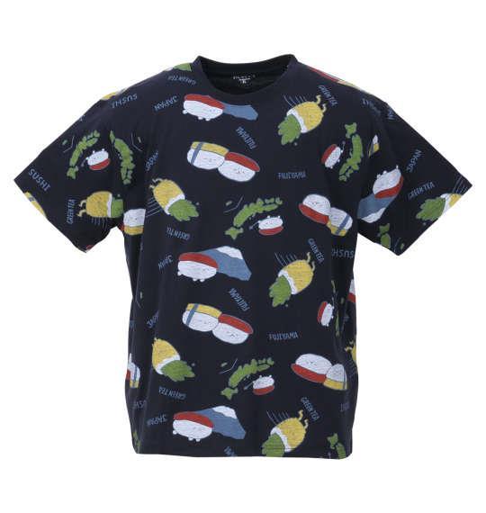大きいサイズ メンズ おしゅしだよ JAPAN総柄 半袖 Tシャツ ネイビー 1178-9249-2 3L 4L 5L 6L