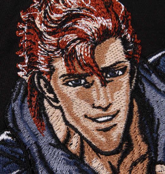 大きいサイズ メンズ 絡繰魂 × 北斗の拳 雲のジョウザ刺繍 半袖 Tシャツ ブラック 1178-9503-1 3L 4L 5L 6L 8L