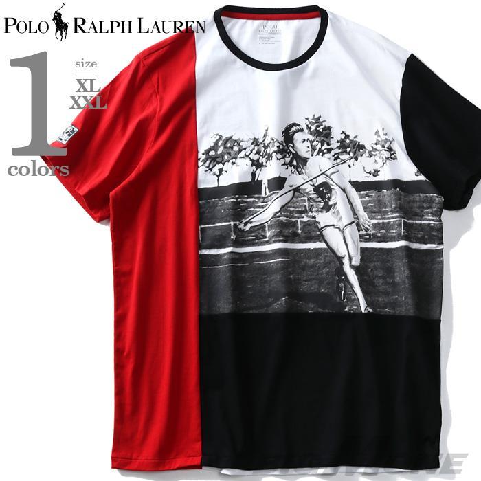 大きいサイズ メンズ POLO RALPH LAUREN ポロ ラルフローレン プリント 切替 半袖 Tシャツ USA直輸入 710737933
