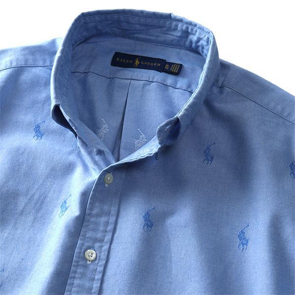 大きいサイズ メンズ POLO RALPH LAUREN ポロ ラルフローレン ロゴ 総柄 半袖 ボタンダウン シャツ USA直輸入 710745729