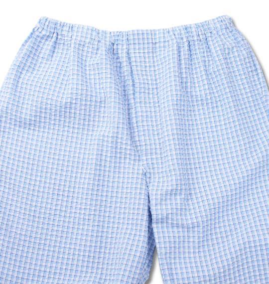 大きいサイズ メンズ marie claire homme DRY サッカー チェック 半袖 パジャマ サックス系 1159-9254-1 3L 4L 5L 6L 8L