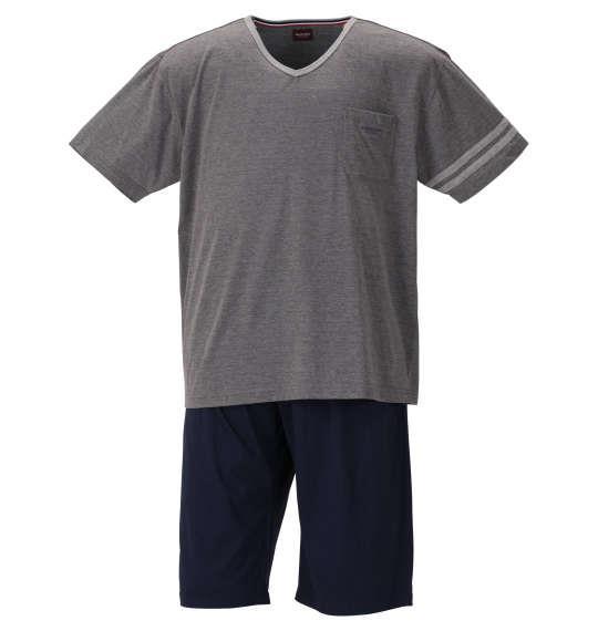 大きいサイズ メンズ marie claire homme 天竺 Vネック 半袖 Tシャツ + ハーフパンツ チャコール杢 × ネイビー 1159-9255-1 3L 4L 5L 6L 8L