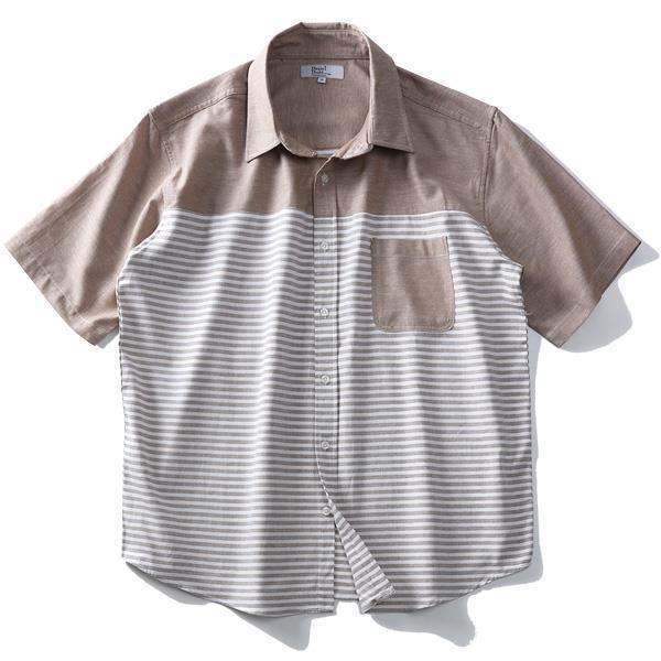 大きいサイズ メンズ DANIEL DODD 半袖 麻混 切替 パナマ レギュラー シャツ 285-190214