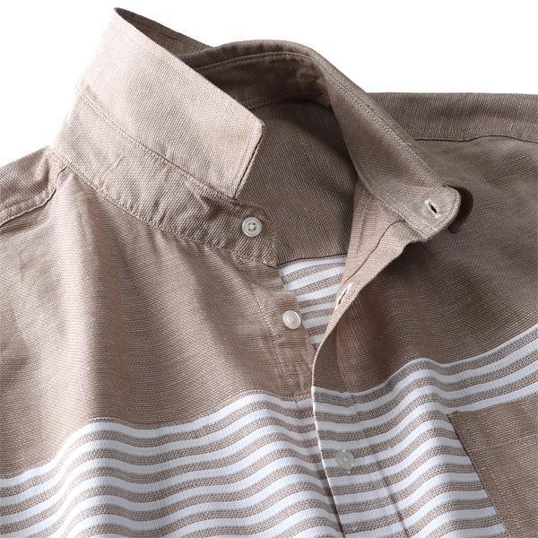 大きいサイズ メンズ DANIEL DODD 半袖 麻混 切替 パナマ レギュラー シャツ 春夏新作 285-190214