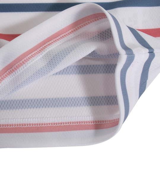 大きいサイズ メンズ OUTDOOR PRODUCTS DRY メッシュ パネル ボーダー 半袖 Tシャツ ホワイト 1158-9211-1 3L 4L 5L 6L 8L