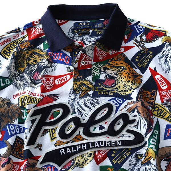 ブランドセール 大きいサイズ メンズ POLO RALPH LAUREN ポロ ラルフローレン 総柄 ロゴ プリント 鹿の子 半袖 ポロシャツ USA直輸入 710740929