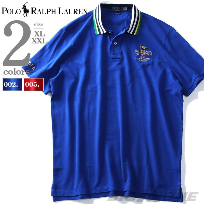 大きいサイズ メンズ POLO RALPH LAUREN ポロ ラルフローレン ロゴ 刺繍入 鹿の子 半袖 ポロシャツ USA直輸入 710741074