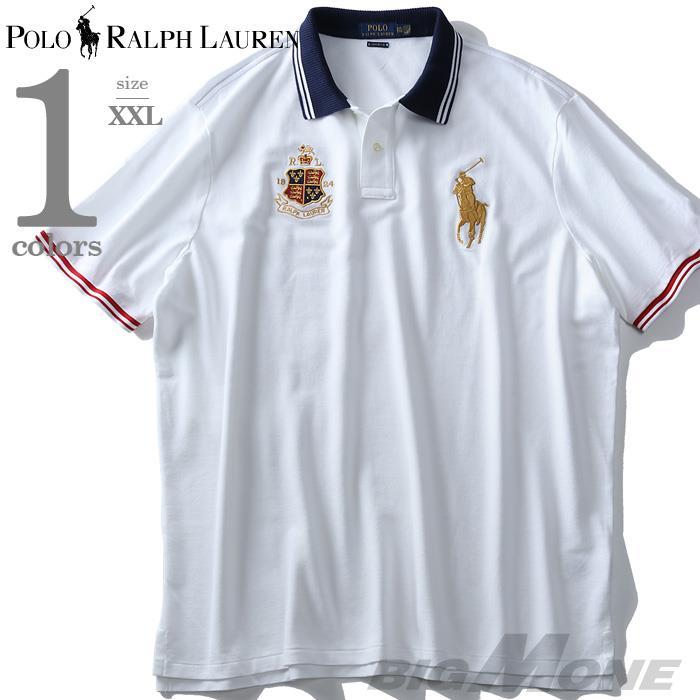 大きいサイズ メンズ POLO RALPH LAUREN ポロ ラルフローレン 刺繍入 鹿の子 半袖 ポロシャツ USA直輸入 710746847