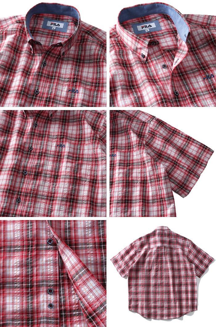 大きいサイズ メンズ FILA フィラ リップル チェック 半袖 ボタンダウン シャツ 春夏新作 fh7541k