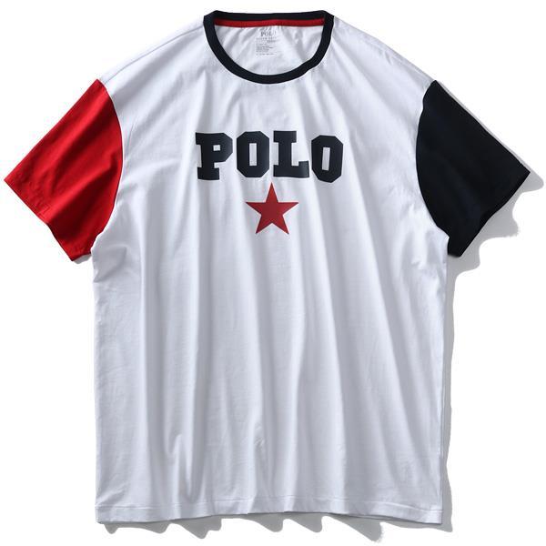 大きいサイズ メンズ POLO RALPH LAUREN ポロ ラルフローレン ロゴ プリント 袖切替 半袖 Tシャツ USA直輸入 710741437