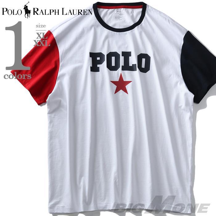 ブランドセール 大きいサイズ メンズ POLO RALPH LAUREN ポロ ラルフローレン ロゴ プリント 袖切替 半袖 Tシャツ USA直輸入 710741437