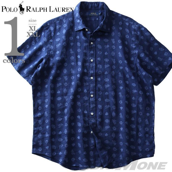 大きいサイズ メンズ POLO RALPH LAUREN ポロ ラルフローレン 麻100% 総柄 半袖 カジュアル シャツ USA直輸入 710741709