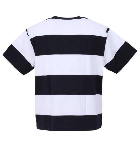 大きいサイズ メンズ H by FIGER ポケット付 ボーダー 半袖 Tシャツ ネイビー × ホワイト 1168-9356-1 3L 4L 5L 6L 8L